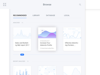 Browse cards chart minimalist minimalistic layout ux uiux ui browse browser