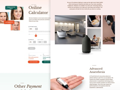 Landing pages for dental clinic dental clinic dental care office payment calculator dental website design dental minimalistic landing page layout