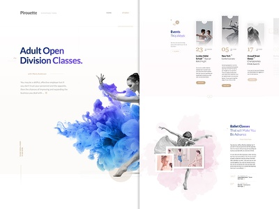 Pirouette - Dance Theme dancing ballet design word-press landing page homepage layout clean minimalistic clouds theme dance