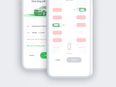 Parking App microinteraction interaction animation mobile car parking booking parking lot parking app