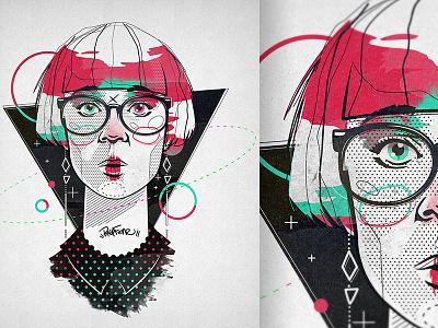 Sarah beauty fashion lineart neopopart popart illustration character bkopfone bkopf