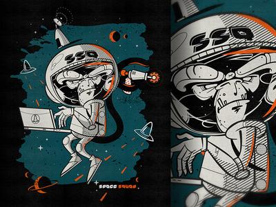 Ssq Monkey characterdesign bkopf space monkey tee silkscreen fashion