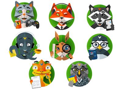 """Get in"" Avatare icons vector animals illustration avatar bkopfone bkopf"