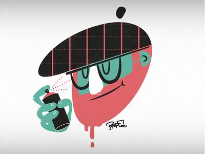 """Letter """"D"""" bearded glasses graffiti vector typography head character illustration bkopfone bkopf"""