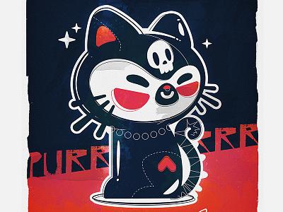 Cat character asian skull cutie cute illustration cat bkopfone bkopf