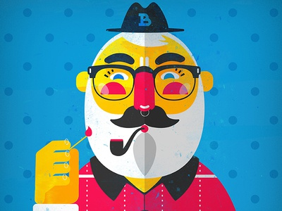 Smoke Pipe vector glasses hat greybeard beard flat character illustration pipe smoke bkopfone bkopf
