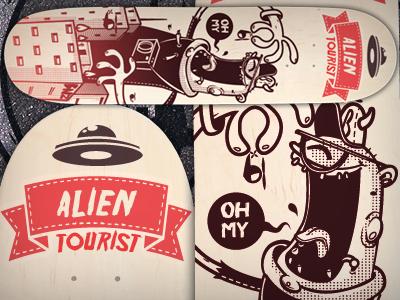 """Skatedeck """"alien tourist"""" skate deck skateboard skating bkopf alien tourist road street"""