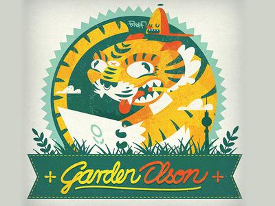 Tiger Garden Olson illustration olson garden bkopfone bkopf tiger patch sticker