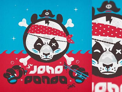 Joho Panda pipe chopsticks patch sticker illustration pirat panda bkopfone bkopf