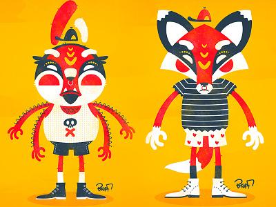characters bkopfone bkopf illustration animal character vector flat bee fox