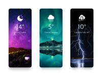 Weather Cards designer color nature shot redesign weather app weather cards design ui ux muzli application app