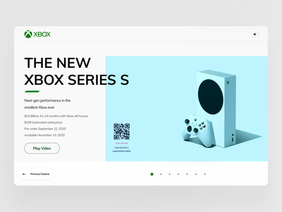 The new XBOX Series S muzli ui ux app interface clean product card product page web design web product xbox series s xbox360 xbox