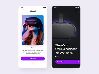 Oculus app onboarding ui button ios virtual assistant virtualreality virtual product interface clean design ux muzli ui promo code promo mobile art app vr oculus
