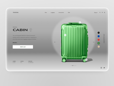 Rimowa product page cart product page design product page ride cabin bags bag travel promo codes promo code promo product interface clean design web ux ui ring rimowa
