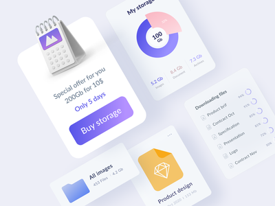Disk Drive app interface muzli gradient minimal product clean app design web ux ui
