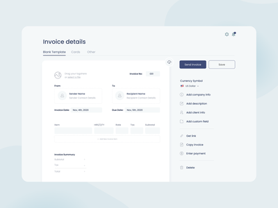 Invoice editor app ux interaction tabs buttons menu bar minimal interface clean app design invoice