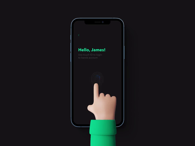 Touch ID 3d hello animation blur mobile app mobile ui ux singin