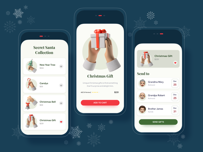 Secret Santa App button christmas card christmas interface ui card gifts new year santa claus app mobile app mobile ui mobile
