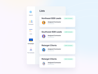 List of contacts product interface design clean web ui ux list view my contacts assets contact sidebar leads b2b sales b2b website b2b listing list