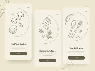 Recipe studio app application recipe recipe app vector clean illustraion button ui onboarding food food app inspiration mobile