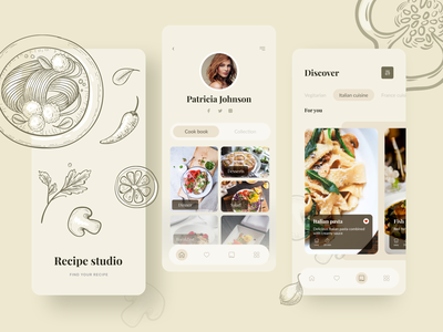 Recipe studio app list grocery app food hobby menu menubar profile card muzli vector mobile illustration product interface clean ui