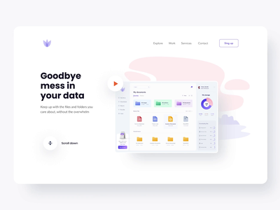 File manager landing page logo web interface product app muzli ui clean typogaphy illustration button landingpage webdesign