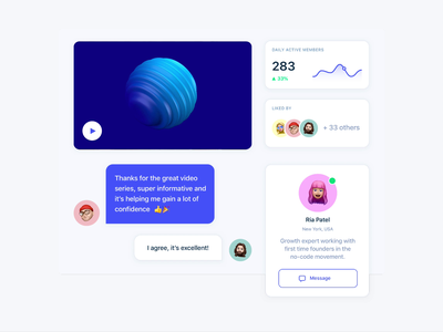 Video series and interactions interface web clean ux ui founders founder like button likes membership member active analitycs comments comment video