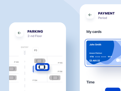 Parking app vehicle drive ar app navigation clean ux parking app road buttons cards ui cards credit card mobile