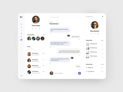 Chat app web product ux software crm saas saas app search link list user sidebar dashboad chat
