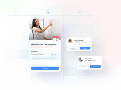 Calendar spot interface product crm saas saas ui contacts user button invite event card calendar