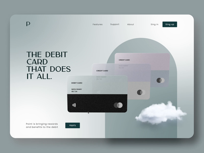 Credit Card Landing Page fashion creative font credit card start page interface clean animation 3d