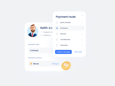 Payment route app interface product clean saas crm finance radiobutton input currency user dropdown