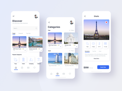 Discover world_mob app product ux user menu booking vacation trip cards mobile interface