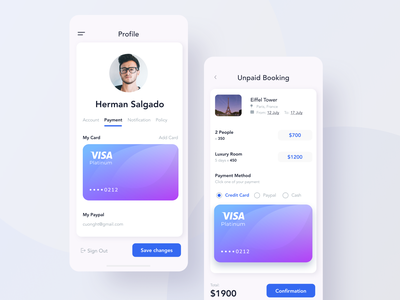 Trip payment app interface clean profile vacation ui mobile credit card visa booking