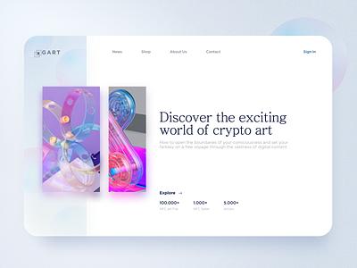 Marketplace NFT world sergushkin landing homepage discovery desktop branding app minimal blockchain coins nft coins crypto design muzli ui startpage web clean nft