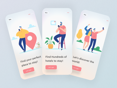Onboarding travel illustration button shadow mobile onboarding