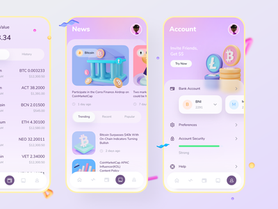Crypto Wallet product nft ios crypto apps app shadow illustration news tab menu cards mobile account wallet