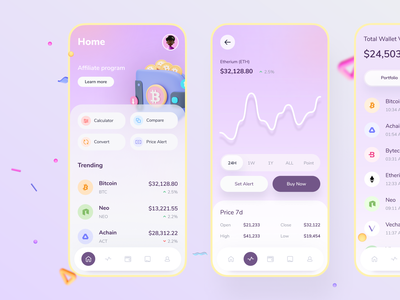 Crypto Wallet appstore pink ios app shadow menu tab bitcoin crypto mobile button period list chart home wallet