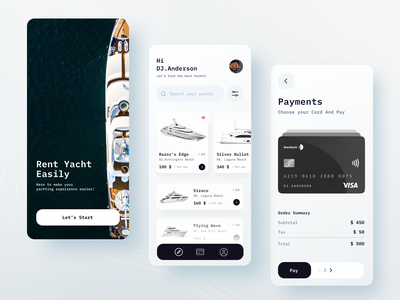 Rent Yacht app search menu tab visa credit card pay onboarding cards list rent yacht mobile