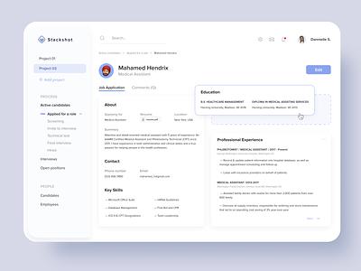 CV form constructor edit form interface dashboard menu sidemenu drag and drop srm resume cv
