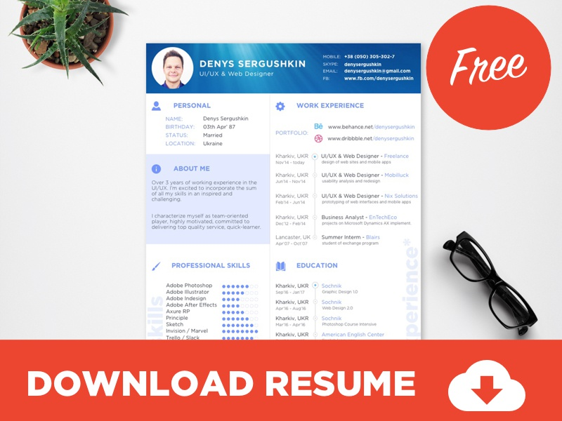 free resume template download psd   sketch by  u26a1 ufe0fd u039enys s u039ergushkin