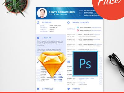FREE Resume Template Download PSD + Sketch muzli job clean creative minimal designer free template cv resume freebie