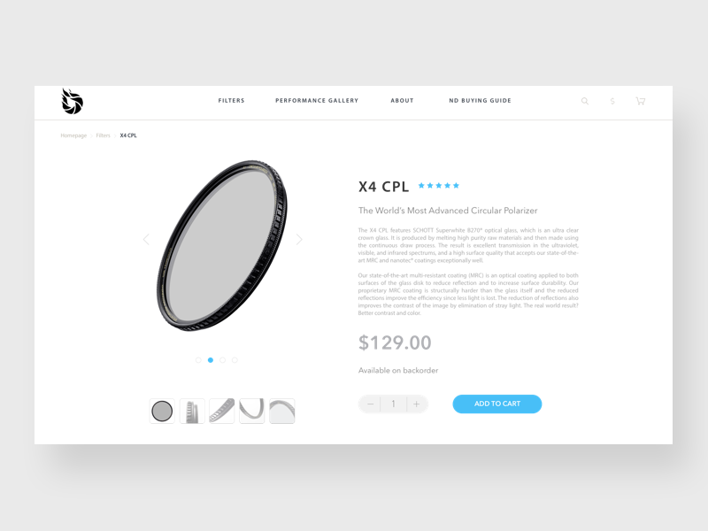 Product page: Filter for camera muzli shopping page web design landingpage photographs white camera filter ux user interface user experience product page
