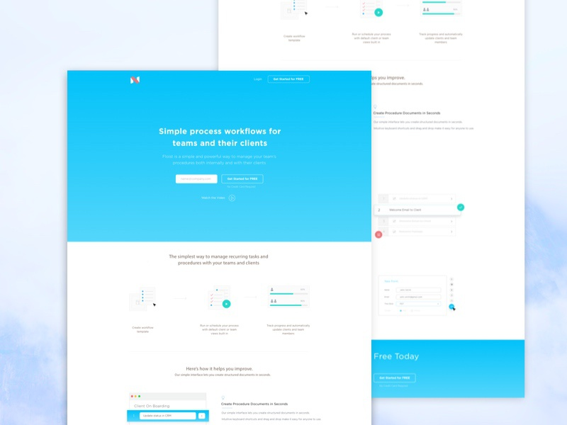 Landing Page For 3D Printing muzli web parallax layout ice cream service design blue color clean landing page printing 3d