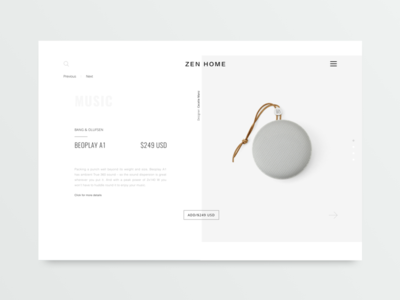 Product page of Beoplay A1 ux muzli ui sound music markets guidelines minimal design zen white clean web product