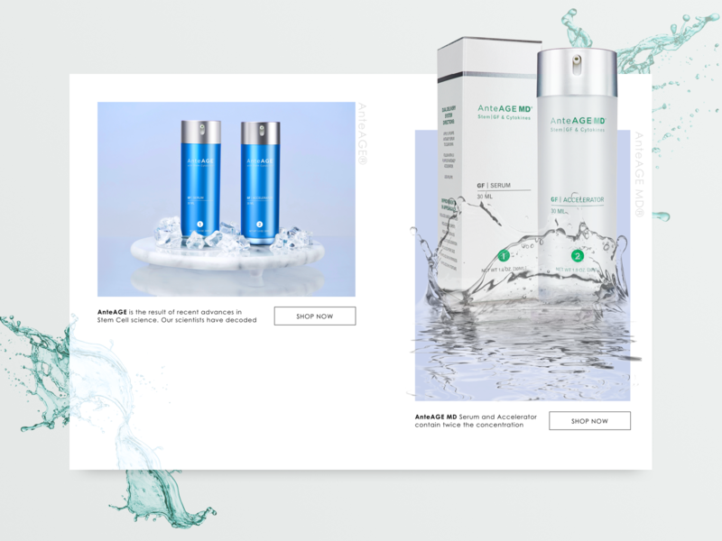 Anteage Cosmetics home ios white gradient logo website landing page minimal app ui ux web design interface product clean beauty product beauty cosmetic muzli