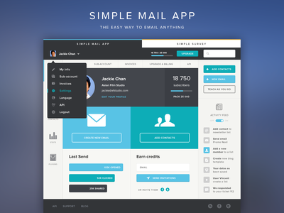 SimpleMail (Full View) - The easy way to email anything simplemail email flat design dropdown profile pic icons homepage grid system css trend webdesign