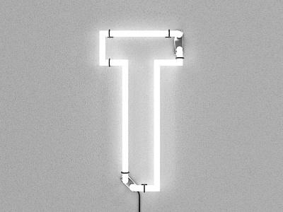 T – Neon wall light c4d render 3d neon