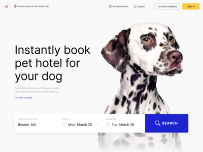 Instantly book pet hotel