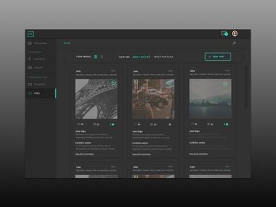 Dark UI - News Feed dashboard